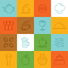 Vector food linear icons and signs