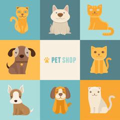 Vector pet shop logo design templates