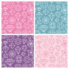 Vector seamless patterns with linear diamond icons
