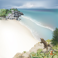 Tropical Landscape with iguana