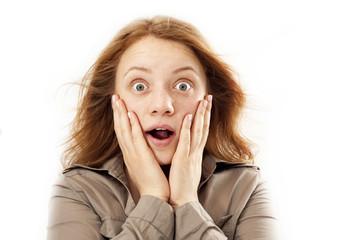 Portrait of surprised woman