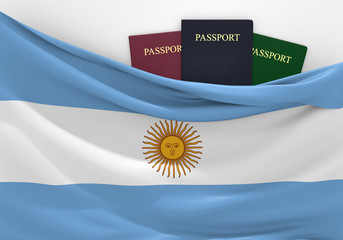 Travel and tourism in Argentina, with assorted passports