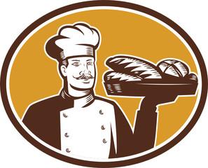 Baker Serving Bread Loaf Woodcut