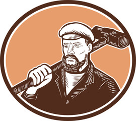 Blacksmith Holding Sledgehammer Woodcut