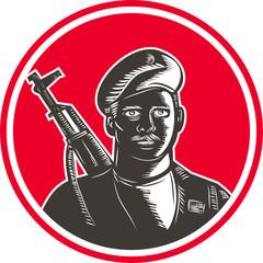 Paramilitary Wearing Beret Rifle Woodcut