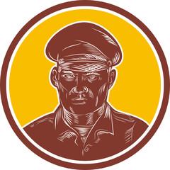 Sea Captain Portrait Woodcut Circle