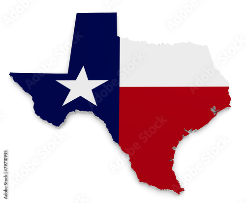 Geographic border map and flag of Texas, The Lone Star State - 79710935