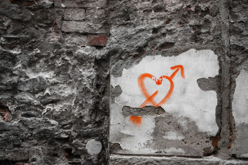 Spray Painted Heart on the Wall