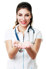 female doctor holding something