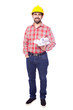 Full body portrait of young architect holding blueprints on whit