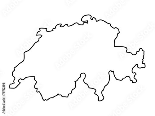 black abstract map of Switzerland - 79712398