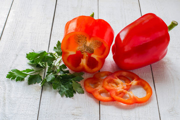 Sweet red pepper and parsley