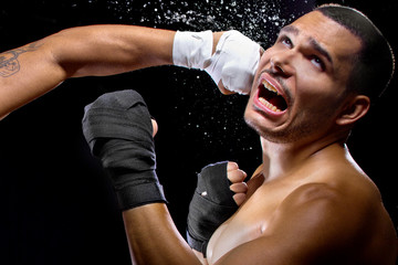 mma fighter or boxer losing and getting hit in the face