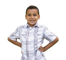 Young Hispanic Boy on White