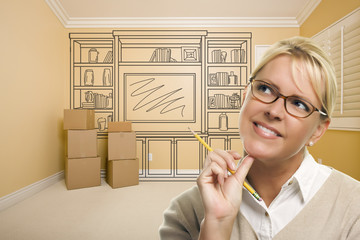 Daydreaming Woman Holding Pencil In Rom with Shelf Drawing on Wa