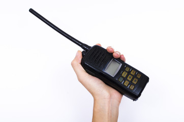 hand holding Portable radio transmitter on white background