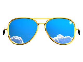 Golden Sunglasses Reflecting Sky