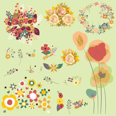 floral set of graphic elements color