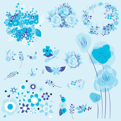 floral set of graphic elements blue