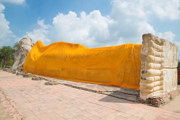 Reclining Buddha of Wat Lokayasutha in Ayutthaya, Thailand.