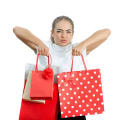 Beautiful Happy Young Woman Holding Shopping Bags
