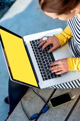 Typing on laptop keyboard