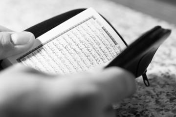 Close-up Muslim Man Reading Koran