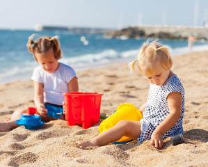 Little children  at sea