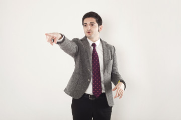 Businessman pointing out