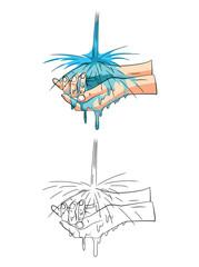 Coloring book Washing Hand cartoon character