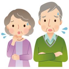 高齢者男女 夫婦 シニア 表情