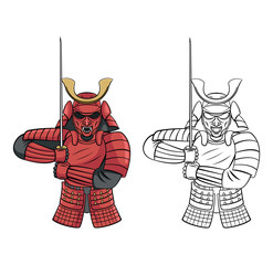 Coloring book Samurai Warrior cartoon character