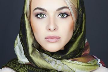 Beautiful blond woman in scarf