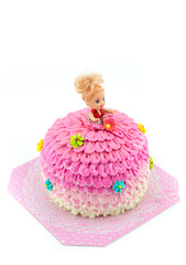 cute dolly cake with pink skirt cream.