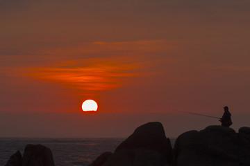 Puesta de sol pescando