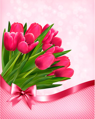 Pink tulips beautiful background. Vector.