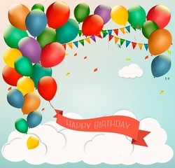 Retro holiday background with colorful balloons and a Happy Birt