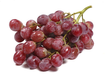 Red globe grapes white background