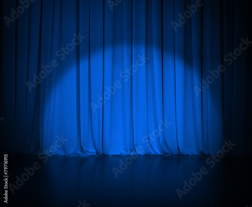 theatre dark blue curtain or drapes with light spot - 79716915