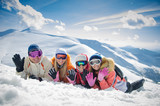 happy family skiers on the hill.