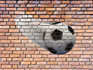 soccer ball on a brick wall