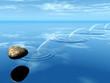 Leinwanddruck Bild - ricochets of a stone on water .
