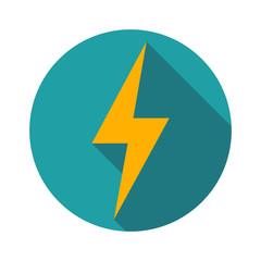 Lightning icon flat design long shadows vector illustration