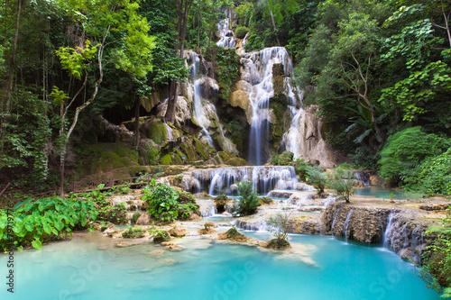 Deurstickers Watervallen Kuang Si Waterfalls near Luang Prabang town in Laos.