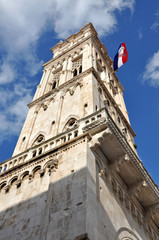 Bell tower of the Cathedral of St Lawrence in historic center of