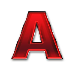 Metal letter A in red