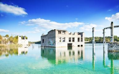 Industrial landscape, abandoned buildings