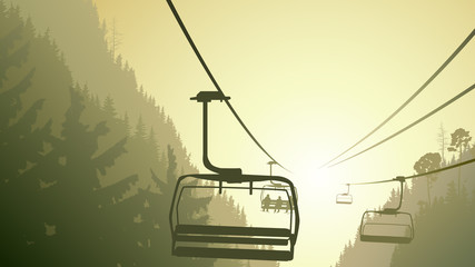 Illustration of mountain forest with ski lift.