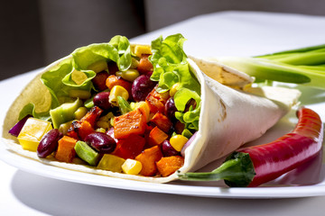 Burrito with grilled vegetables