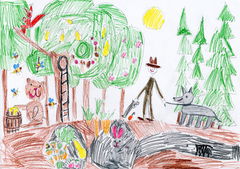 wild animals in forest and hunter with dog. child drawing